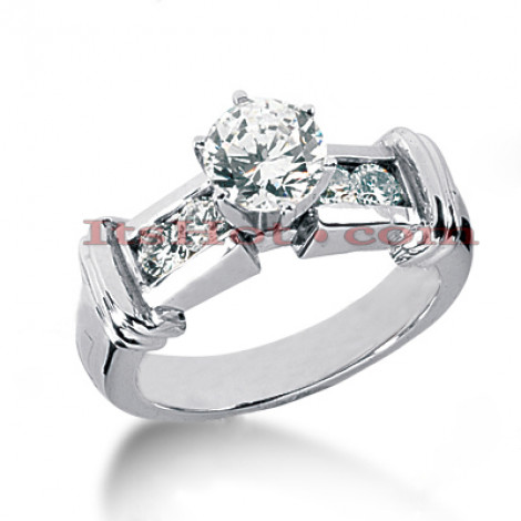 14K Gold Designer Prong and Channel Set Diamond Engagement Ring 0.90ct Main Image