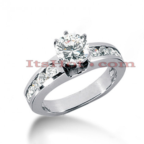 14K Gold Prong and Channel Set Diamond Engagement Ring 1.02ct Main Image