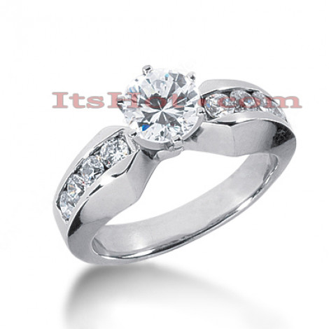 14K Gold Prong and Channel Set Diamond Engagement Ring 1.06ct Main Image