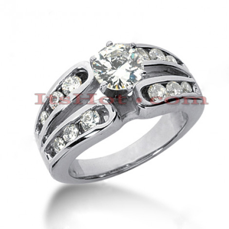 14K Gold Designer Channel and Prong Set Diamond Engagement Ring 1.10ct Main Image