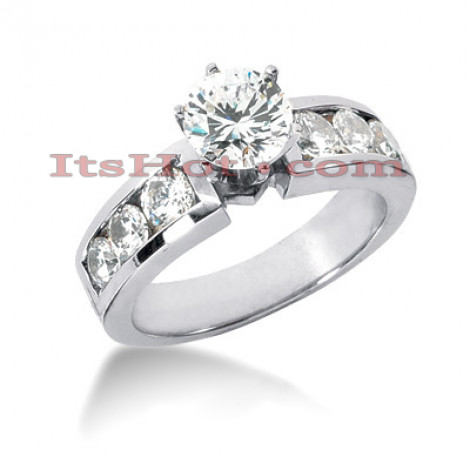 14K Gold Designer Prong and Channel Diamond Engagement Ring 1.22ct Main Image