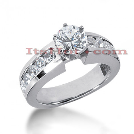 14K Gold Handmade Designer Channel and Prong Diamond Engagement Ring 1.50ct Main Image