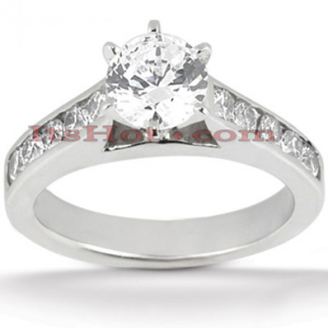 14K Gold Prong and Channel Set Diamond Engagement Ring 1ct Main Image