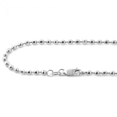 Mens Dog Tag Chains 14K White Gold Ball Chain 4mm wide, 22in - 40in Main Image