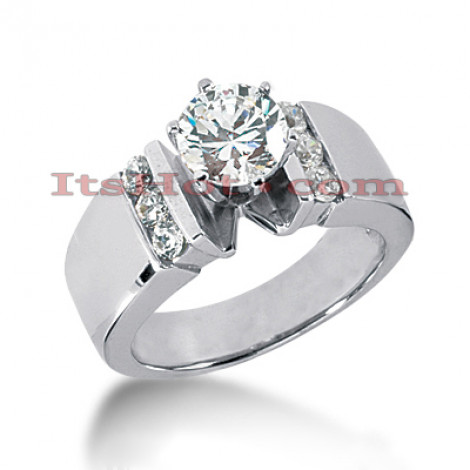 14K Gold  Prong and Channel Set Diamond Designer Engagement Ring 0.80ct Main Image