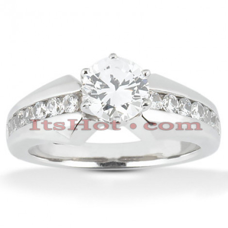 14K Gold Prong and Channel Set Diamond Designer Engagement Ring 0.92ct Main Image