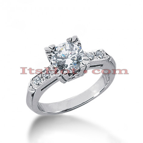 14K Gold Channel and Prong Set Diamond Designer Engagement Ring 1.10ct Main Image