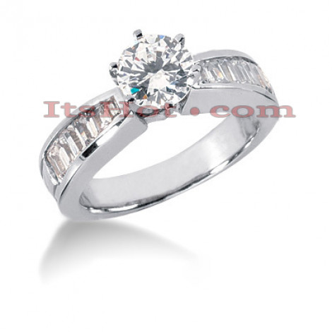 14K Gold Round and Baguette Diamond Designer Engagement Ring 1.22ct Main Image