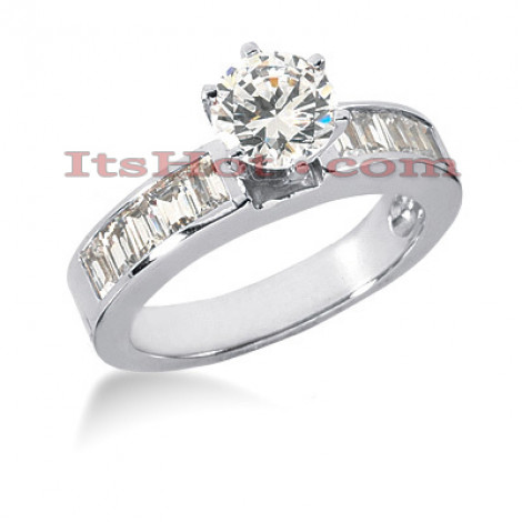 14K Gold Round and Baguette Diamond Designer Engagement Ring 1.30ct Main Image