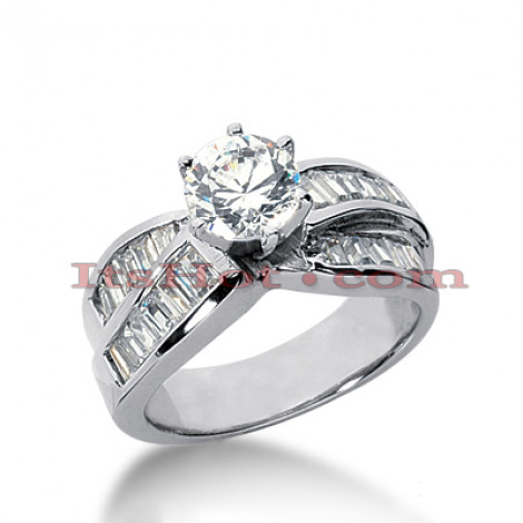 14K Gold Round and Baguette Diamond Designer Engagement Ring 1.54ct Main Image