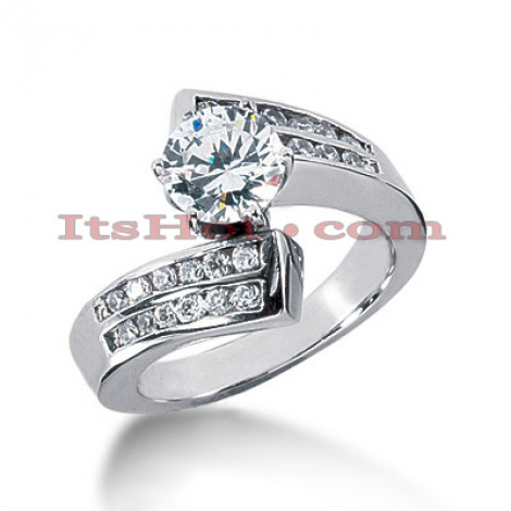 14K Gold Prong and Channel Set Diamond Engagement Ring 0.98ct Main Image