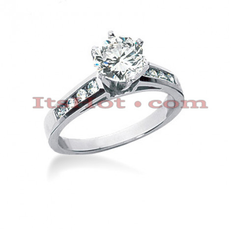 14K Gold Handmade Prong and Channel Set Diamond Engagement Ring Mounting 0.20ct Main Image