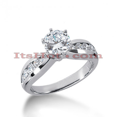 14K Gold Channel and Prong Set Diamond Engagement Ring Mounting 0.36ct Main Image