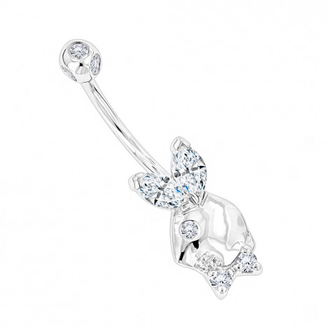 Real 14K Gold Genuine Diamond Playboy Bunny Belly Button Ring 1.06ct White Image