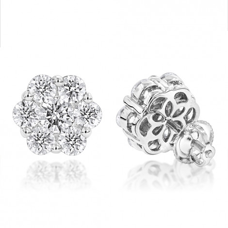 14K Gold Earrings Round Diamond Clusters 3.5ct White Image