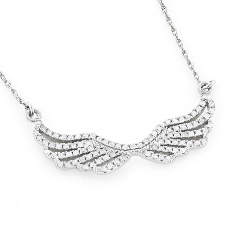 14k Gold Ladies Diamond Wings Necklace Pendant by Luxurman White Image