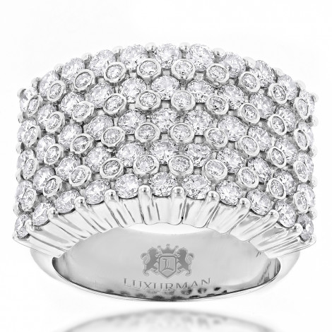 Unique 14K Gold Mens Diamond Rings Collection Piece by Luxurman 3.5ct White Image