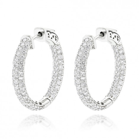 14K Gold Small Inside Out Diamond Hoop Earrings for Women 2.7ct 1 inch White Image