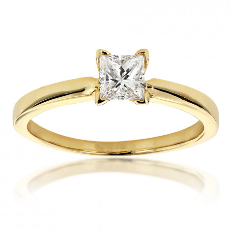 14K Gold Princess Cut Diamond Solitaire Engagement Ring 0.4ct Yellow Image