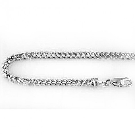 Mens 14K Solid Gold Franco Chain White Yellow Gold 3mm Wide, 24in - 40in Main Image