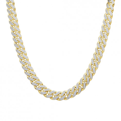 15 Carats Real Diamond Cuban Link Chain Choker Necklace Real 14k Gold 12mm Wide Yellow Image