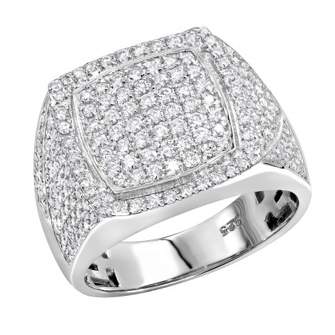 1.75ct Diamond Affordable Sterling Silver Pinky Ring for Men White Image