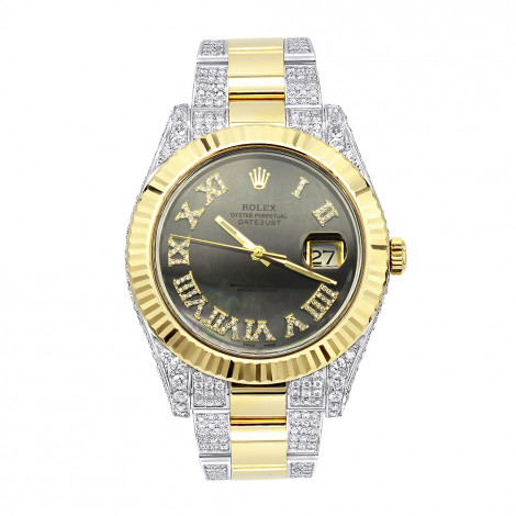 41mm 18k Gold Rolex Oyster Perpetual Diamond Watch for Men 7.5ct Two Tone Green Dial Main Image