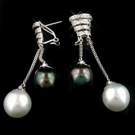 18K White Gold Diamond And Pearl Earrings 0.72ct Main Image