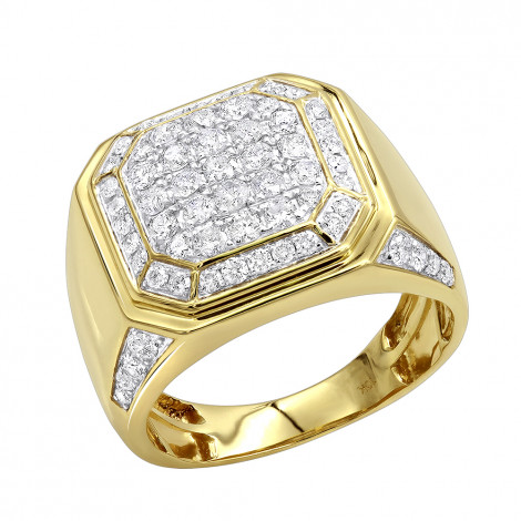 2 Carat Diamond Pinky Ring or Wedding Band for Men in 10K Gold by Luxurman Yellow Image