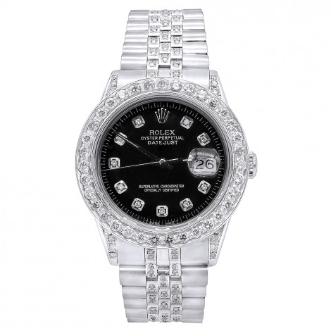 36mm Mens Diamond 4.25 Carat Rolex Datejust Watch Oyster Perpetual Black Dial Main Image