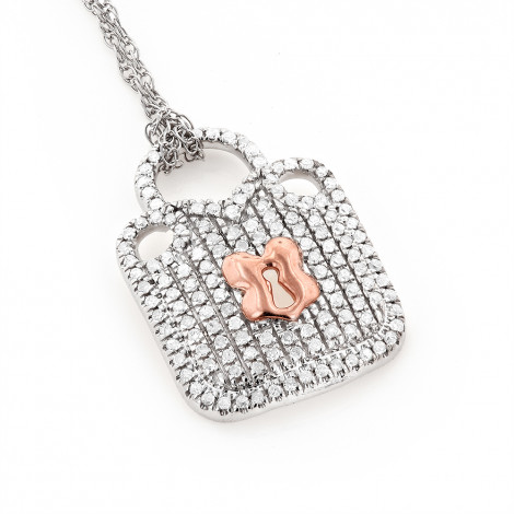 Real 10K White & Rose Gold Ladies Diamond Lock Pendant Necklace 0.3ct is $249 (66% off)