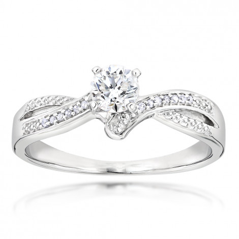 Affordable Engagement Rings 14K Gold Diamond Ring 0.34ct White Image