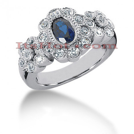 Antique Style Blue Sapphire Engagement Ring 14K 0.46ctd 0.50cts Main Image