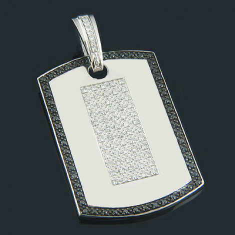 Black and White Diamond Dog Tag Pendant 1.19ct Sterling Silver Main Image