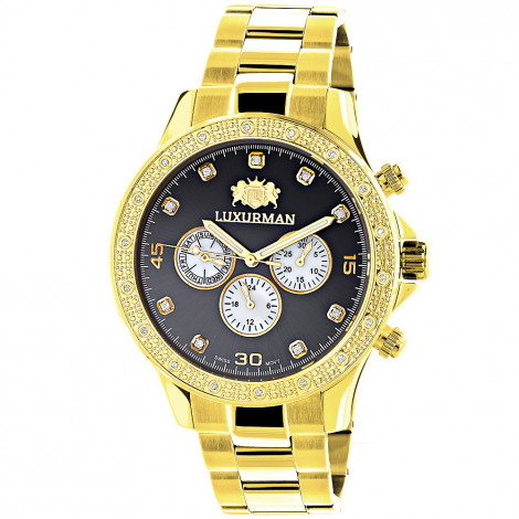 Black Dial Yellow Gold Plated Luxurman Diamond Watch for Men 0.2ct New Main Image