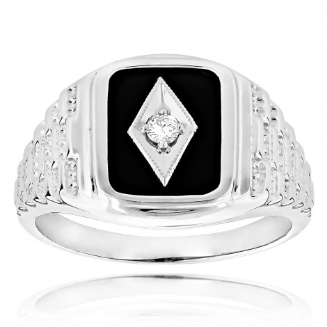 Black Onyx and Diamond Rings 14K Gold Mens Ring 0.10ct 9/16 in (15mm) White Image