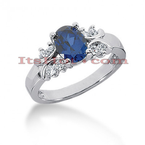 Blue Sapphire and Diamond Engagement Ring 14K 0.24ctd 1.25cts Main Image