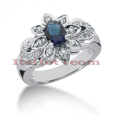 Blue Sapphire and Diamond Engagement Ring 14K 0.28ctd 0.75cts Main Image