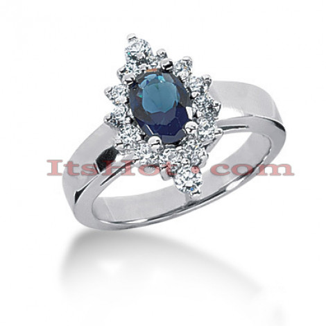 Thin Blue Sapphire and Diamond Engagement Ring 14K 0.46ctd 0.75cts Main Image