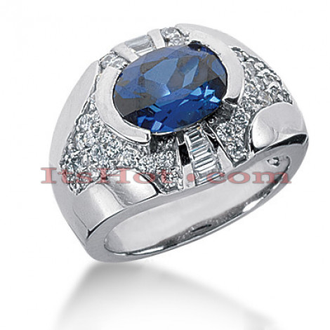 Blue Sapphire and Diamond Ring 14K 1.03ctd 1.25cts Main Image