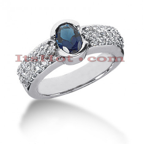 Blue Sapphire Engagement Ring with Diamonds 14K 0.57ctd 0.75cts Main Image