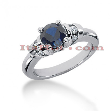 Blue Sapphire Engagement Rings: 14K Gold Diamond Ring 0.18ctd 1cts Main Image