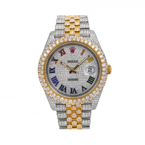 Iced Out Rolex Diamond Watch For Men 41mm Two Tone Datejust Color Dial 17.75ct Main Image