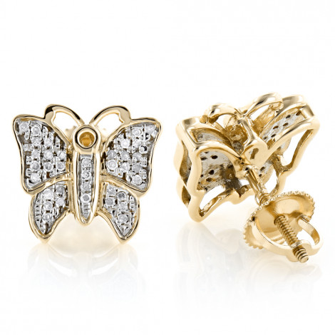 Butterfly Earrings Diamond Studs 0.45ct Solid Gold Yellow Image
