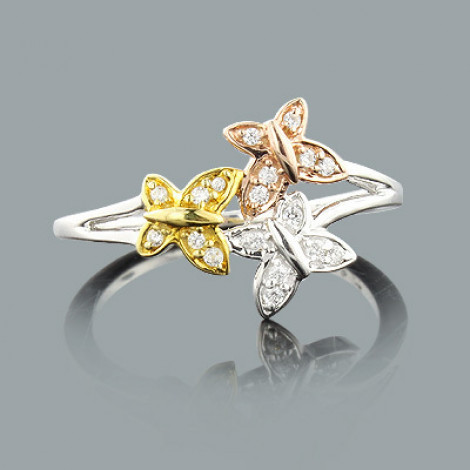 Butterfly Jewelry: Ladies Gold Diamond Ring 0.12ct 14K butterfly-jewelry-ladies-gold-diamond-ring-012ct-14k_1