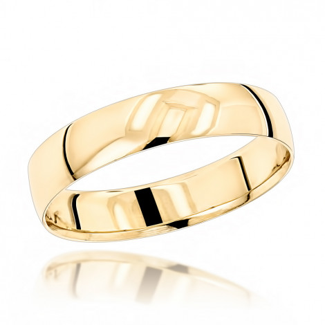 Classic Thin Mens Wedding Band  14K Solid Gold 4mm Yellow Image