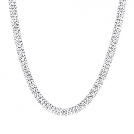 Hip Hop Jewelry 3 Row Diamond Tennis Chain 14K Gold Mens Necklace 30 Carats is $14950 (74% off)