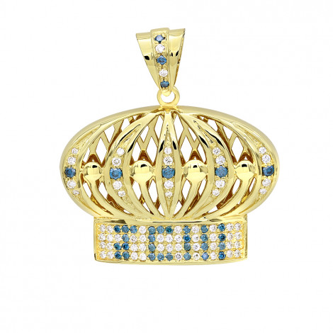 Custom Made Jewelry White & Blue Diamond Crown Pendant for Men in 14k Gold Yellow Image