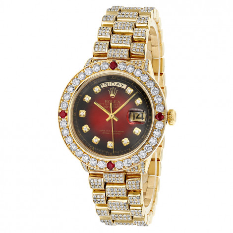 Custom Mens 18k Gold Rolex Day-Date President Diamond and Ruby Watch 15ct Main Image