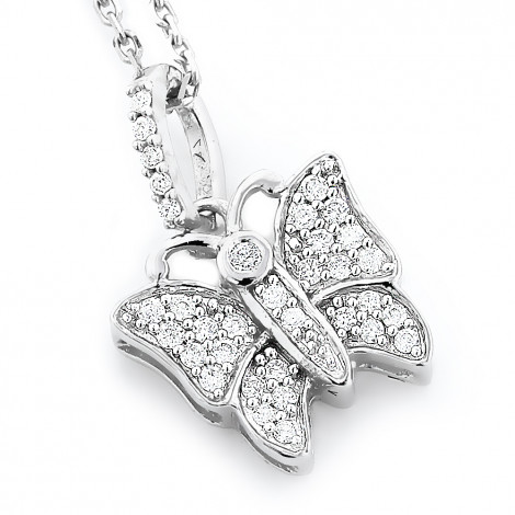 Cute Diamond Butterfly Pendant for Women in 14K Gold 0.19ct White Image